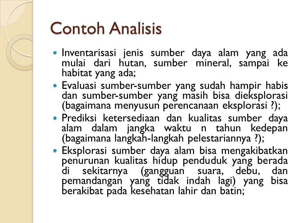 Contoh Analisis Inventarisasi jenis sumber daya alam yang ada mulai dari hutan, sumber mineral, sampai ke habitat yang ada;