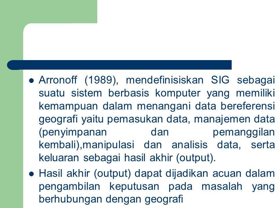 Arronoff (1989), mendefinisiskan SIG sebagai suatu sistem berbasis komputer yang memiliki kemampuan dalam menangani data bereferensi geografi yaitu pemasukan data, manajemen data (penyimpanan dan pemanggilan kembali),manipulasi dan analisis data, serta keluaran sebagai hasil akhir (output).