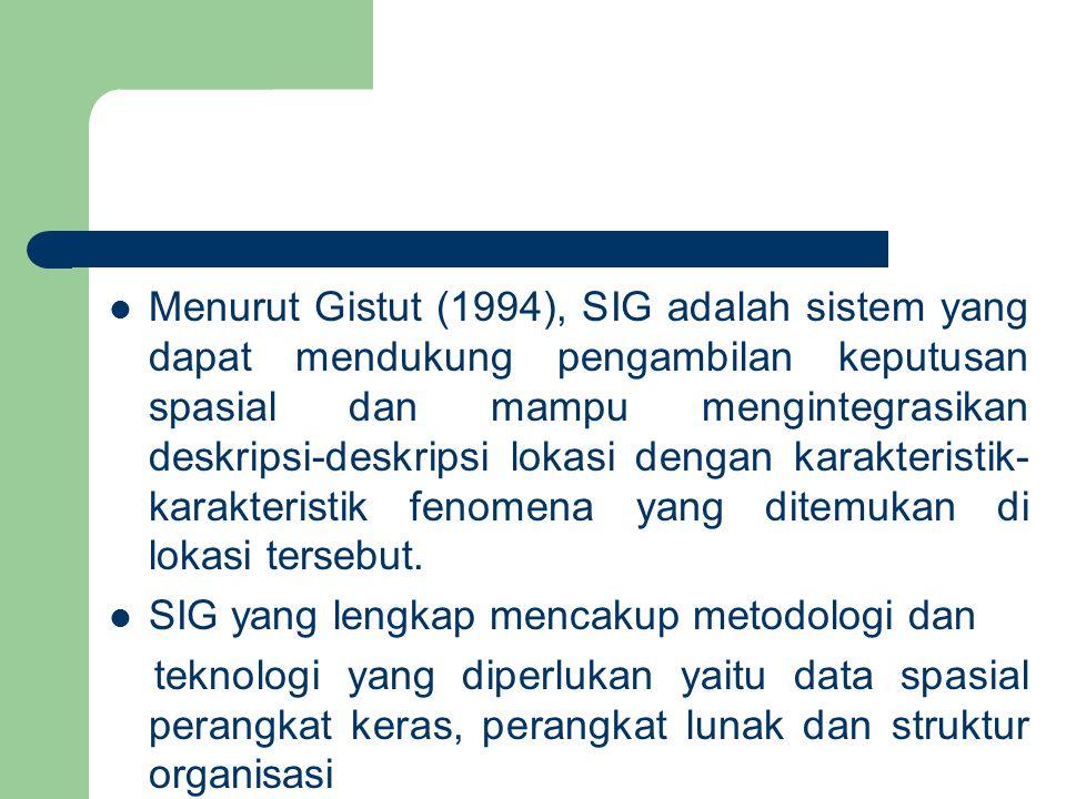 Menurut Gistut (1994), SIG adalah sistem yang dapat mendukung pengambilan keputusan spasial dan mampu mengintegrasikan deskripsi-deskripsi lokasi dengan karakteristik-karakteristik fenomena yang ditemukan di lokasi tersebut.