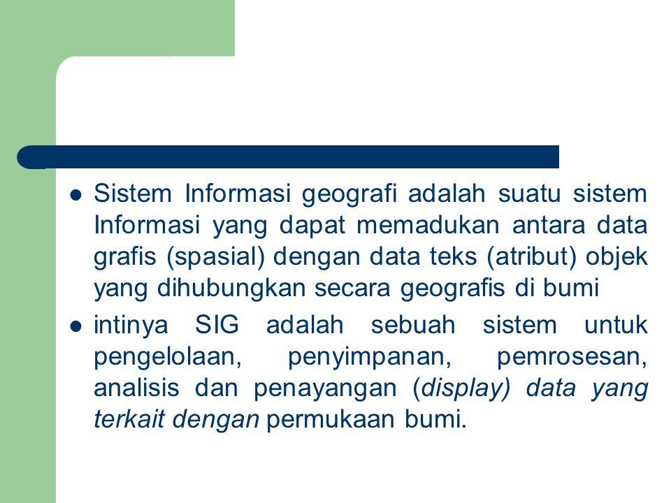 Sistem Informasi geografi adalah suatu sistem Informasi yang dapat memadukan antara data grafis (spasial) dengan data teks (atribut) objek yang dihubungkan secara geografis di bumi
