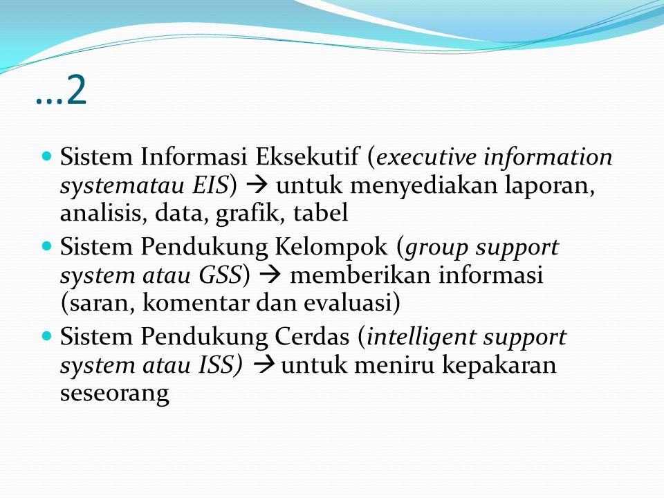 …2 Sistem Informasi Eksekutif (executive information systematau EIS)  untuk menyediakan laporan, analisis, data, grafik, tabel.