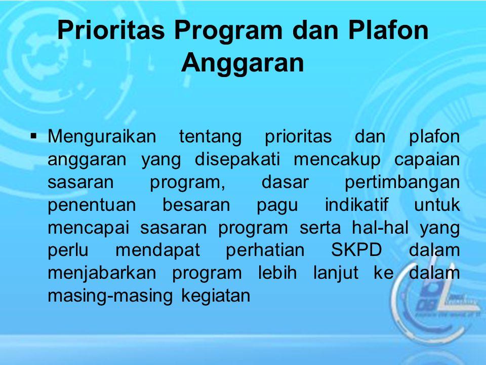 Prioritas Program dan Plafon Anggaran