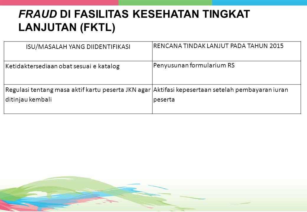 FRAUD DI FASILITAS KESEHATAN TINGKAT LANJUTAN (FKTL)