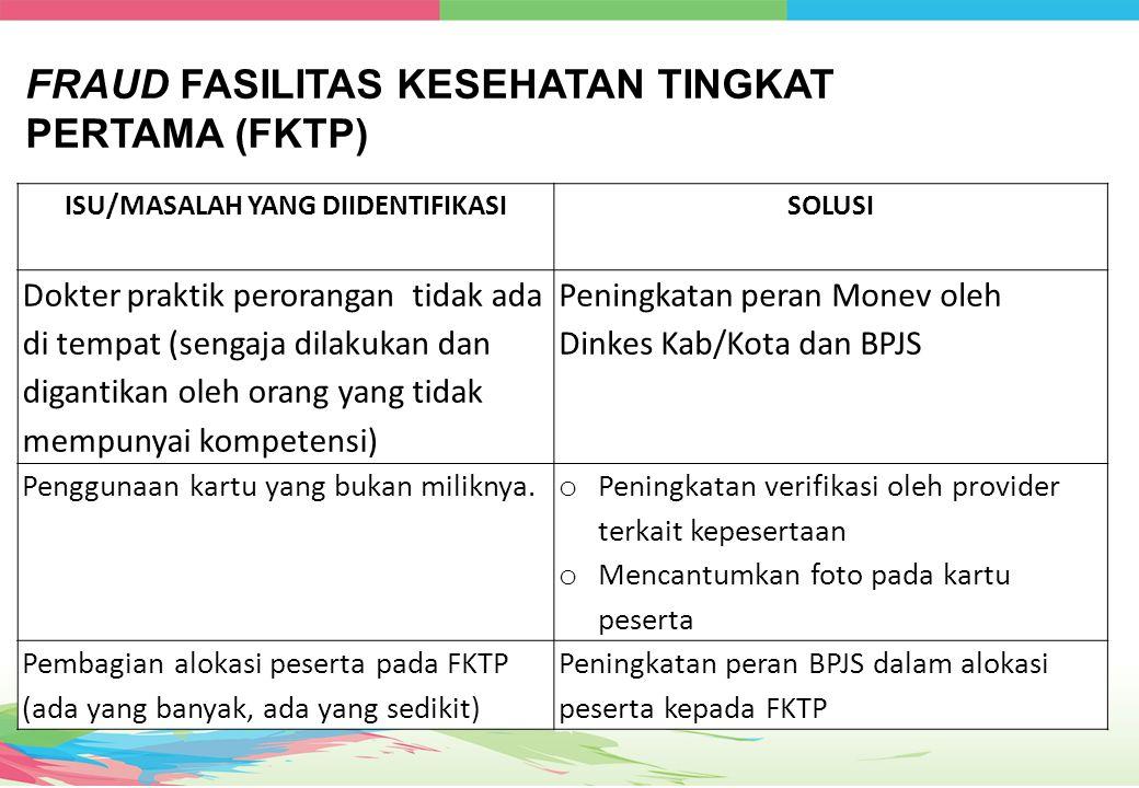 FRAUD FASILITAS KESEHATAN TINGKAT PERTAMA (FKTP)