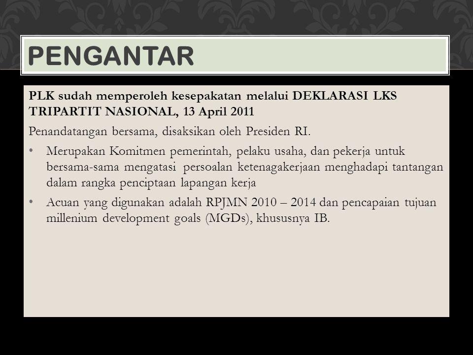 Pengantar PLK sudah memperoleh kesepakatan melalui DEKLARASI LKS TRIPARTIT NASIONAL, 13 April 2011.