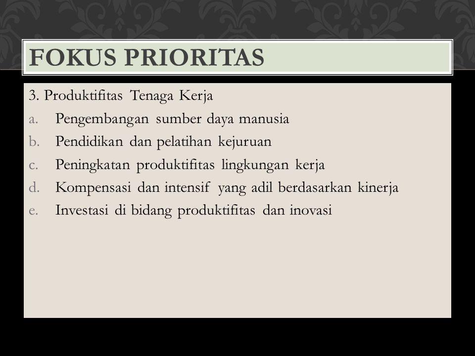 Fokus Prioritas 3. Produktifitas Tenaga Kerja