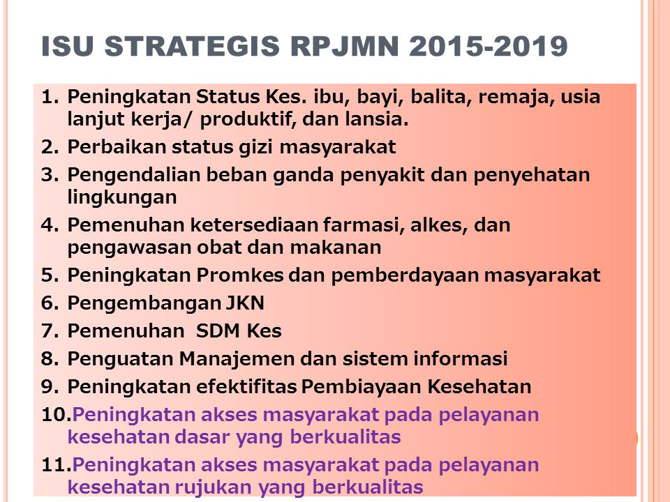 ISU STRATEGIS RPJMN 2015-2019 Peningkatan Status Kes. ibu, bayi, balita, remaja, usia lanjut kerja/ produktif, dan lansia.