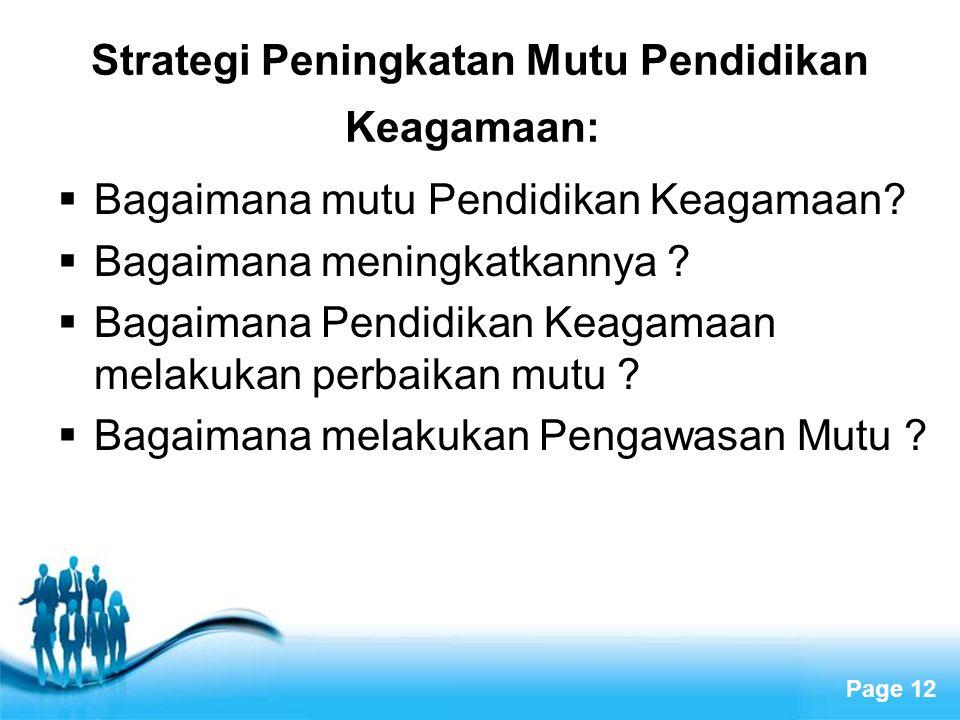 Strategi Peningkatan Mutu Pendidikan Keagamaan: