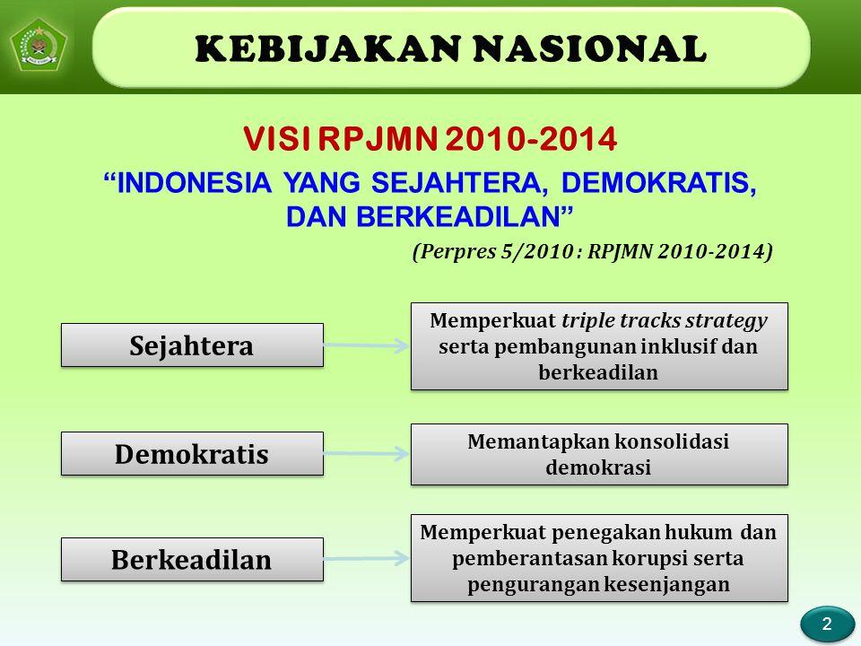 KEBIJAKAN NASIONAL VISI RPJMN 2010-2014