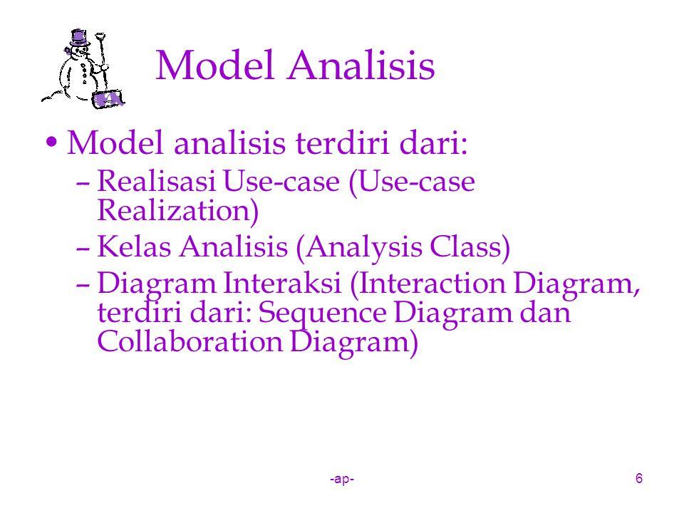 Model Analisis Model analisis terdiri dari:
