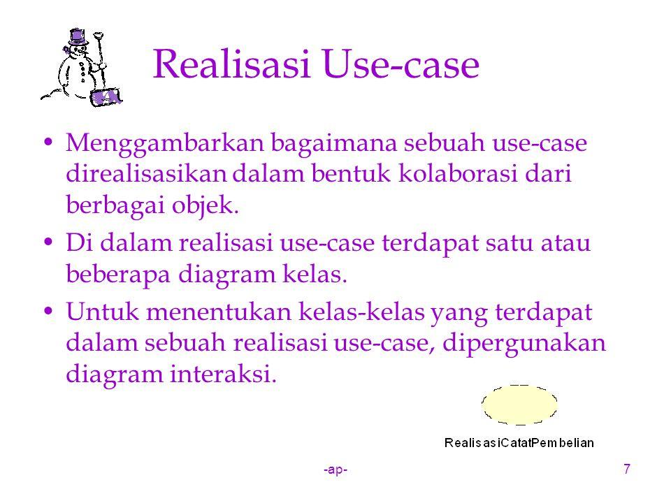 Realisasi Use-case Menggambarkan bagaimana sebuah use-case direalisasikan dalam bentuk kolaborasi dari berbagai objek.
