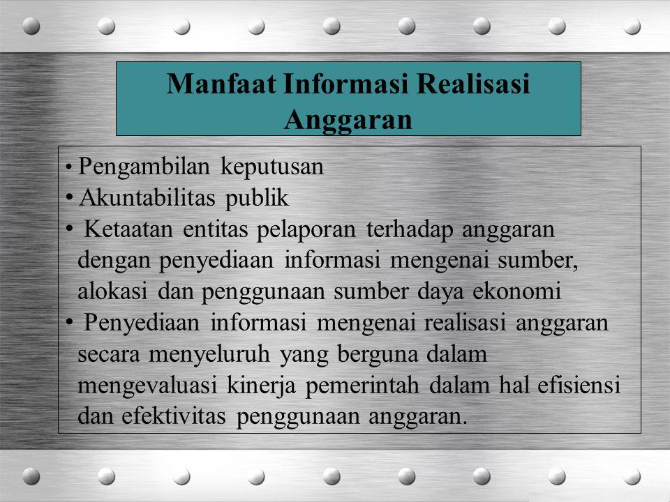 Manfaat Informasi Realisasi Anggaran