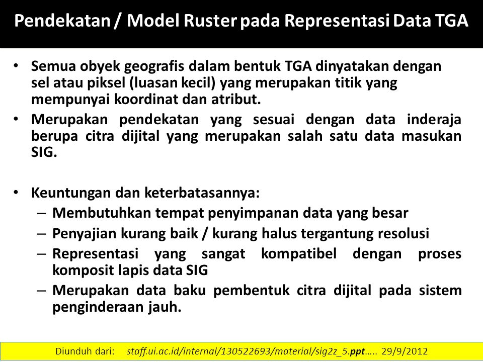 Pendekatan / Model Ruster pada Representasi Data TGA