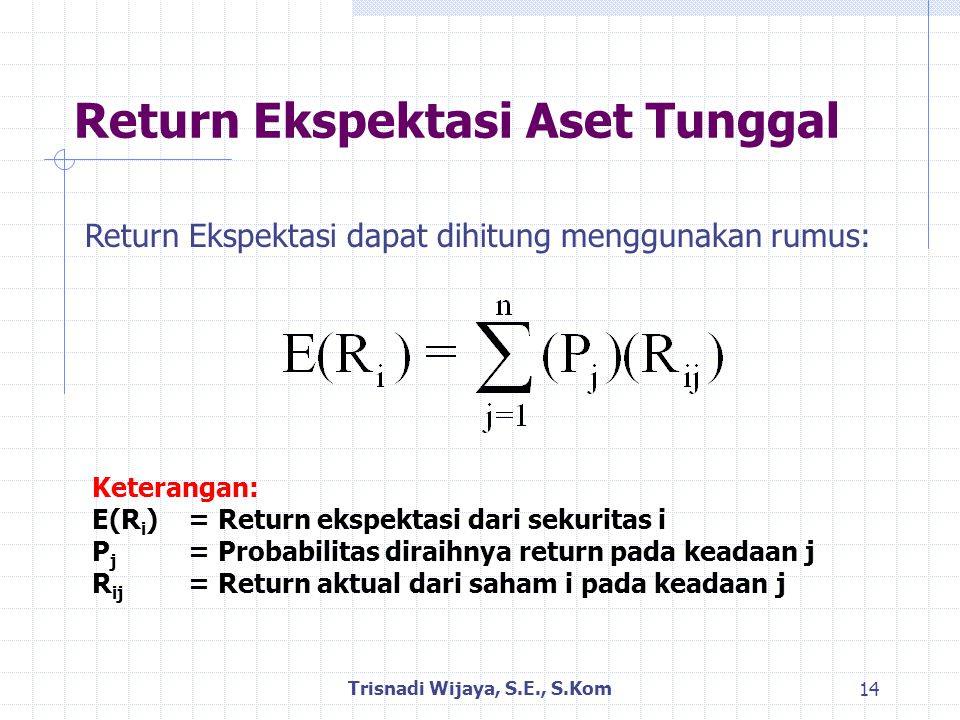 Return Ekspektasi Aset Tunggal