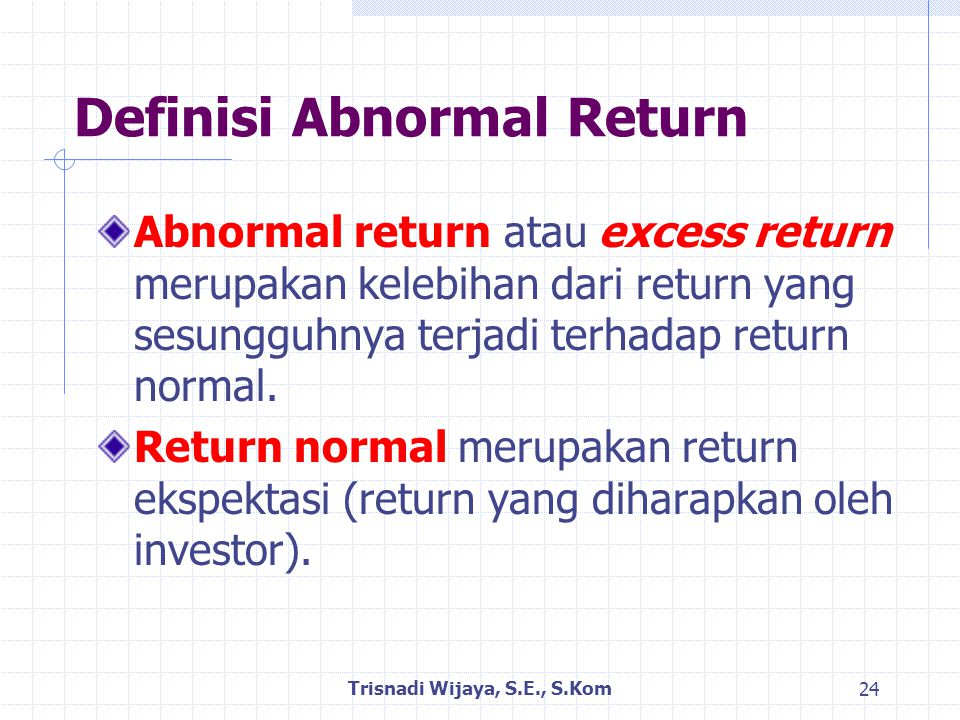 Definisi Abnormal Return
