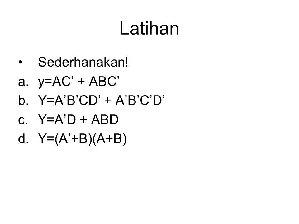 Latihan Sederhanakan! y=AC' + ABC' Y=A'B'CD' + A'B'C'D' Y=A'D + ABD