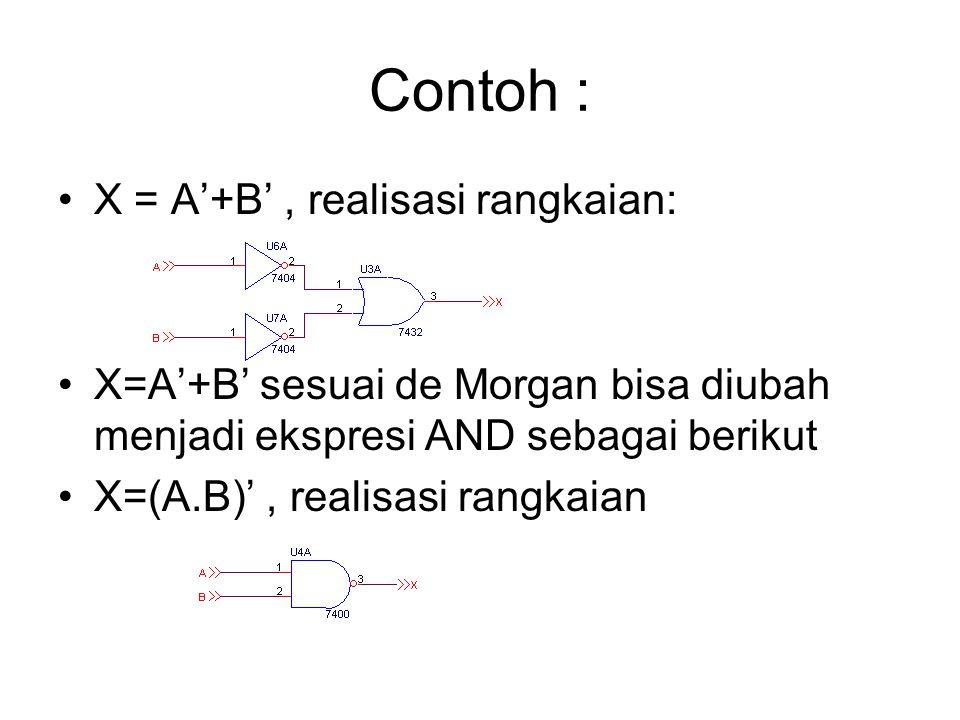 Contoh : X = A'+B' , realisasi rangkaian: