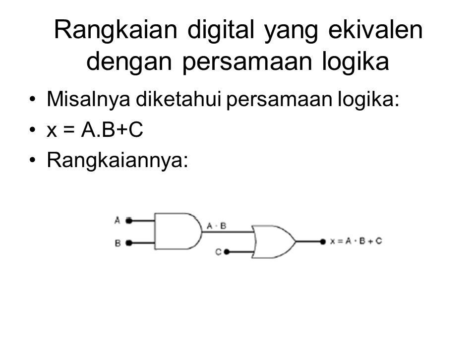 Rangkaian digital yang ekivalen dengan persamaan logika