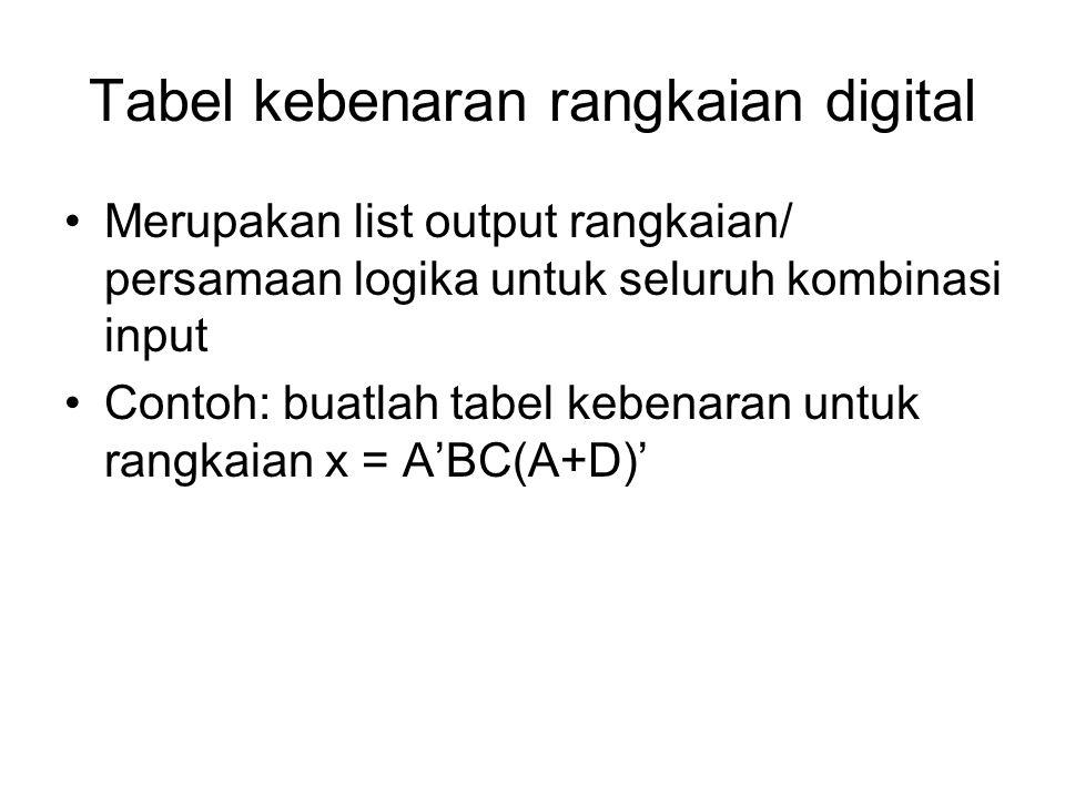 Tabel kebenaran rangkaian digital