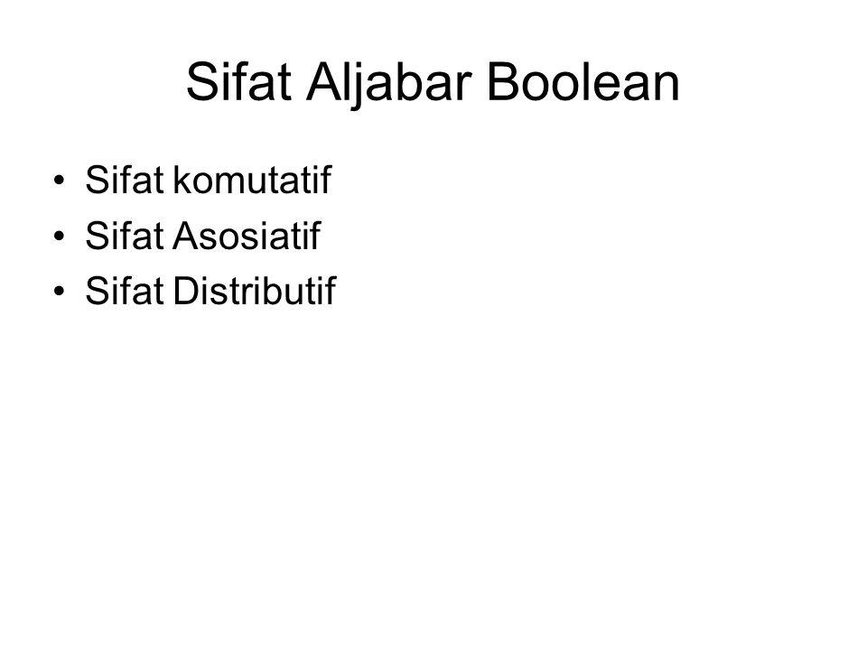 Sifat Aljabar Boolean Sifat komutatif Sifat Asosiatif