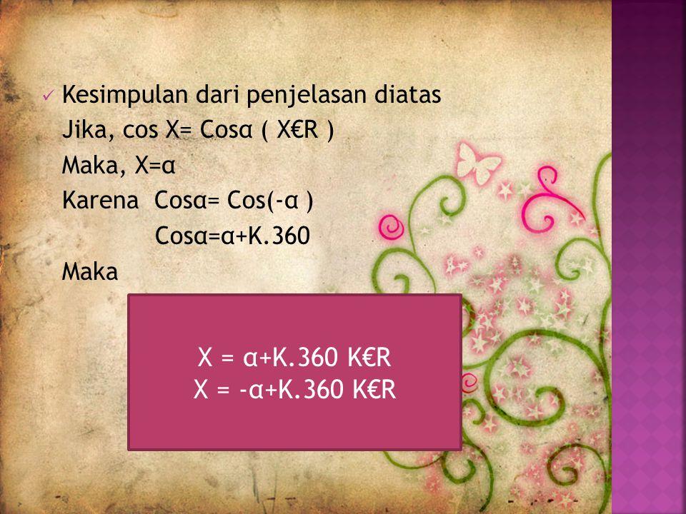X = α+K.360 K€R X = -α+K.360 K€R Kesimpulan dari penjelasan diatas