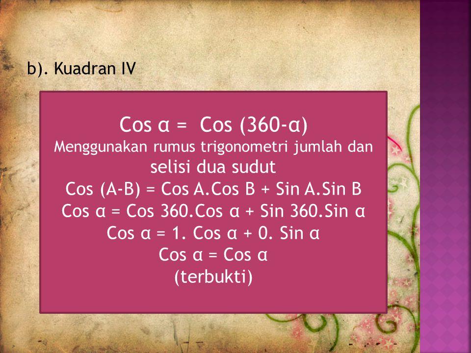Cos α = Cos (360-α) Cos (A-B) = Cos A.Cos B + Sin A.Sin B