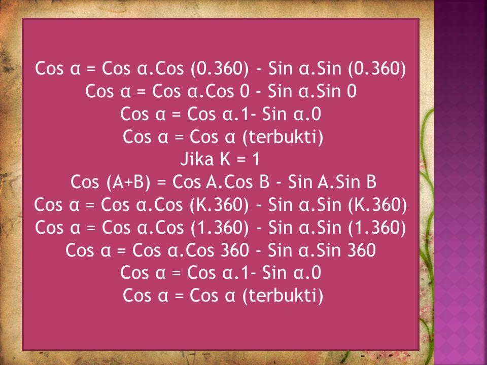 Cos (A+B) = Cos A.Cos B - Sin A.Sin B