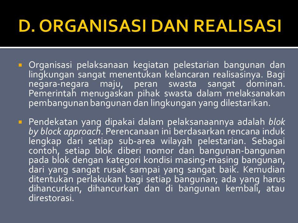 D. ORGANISASI DAN REALISASI