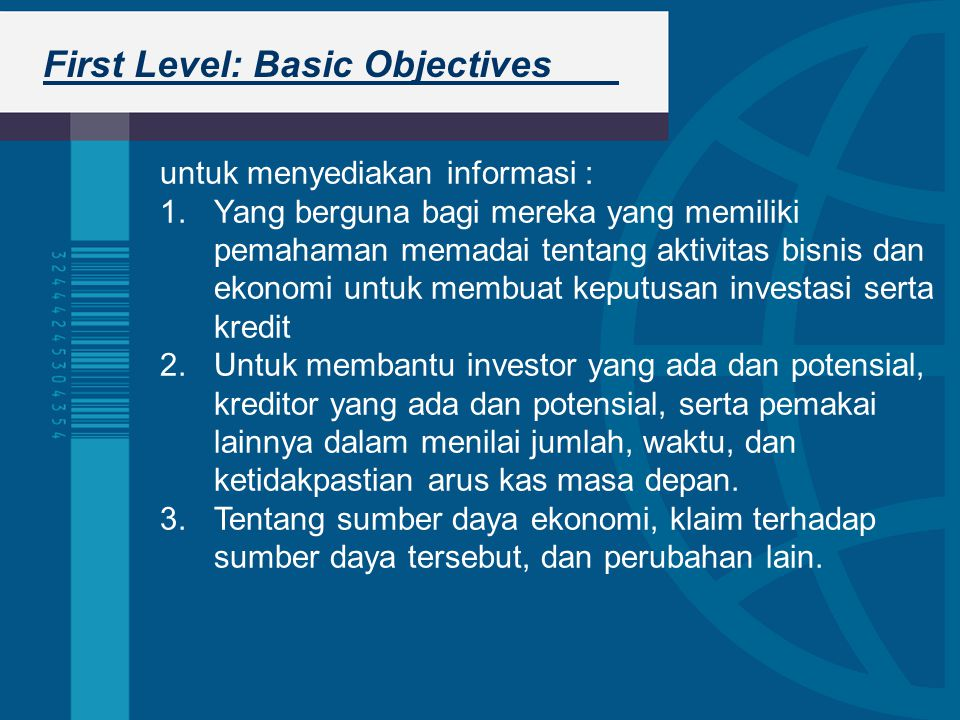 First Level: Basic Objectives