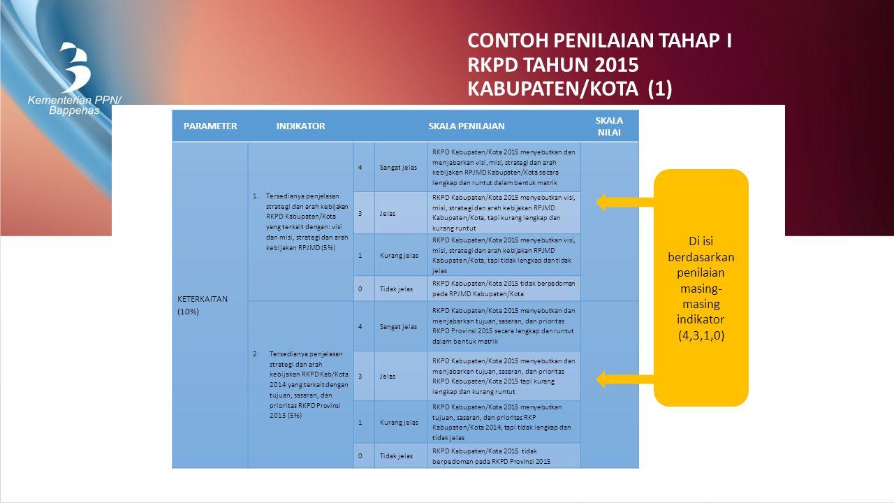 CONTOH PENILAIAN TAHAP I RKPD TAHUN 2015 KABUPATEN/KOTA (1)