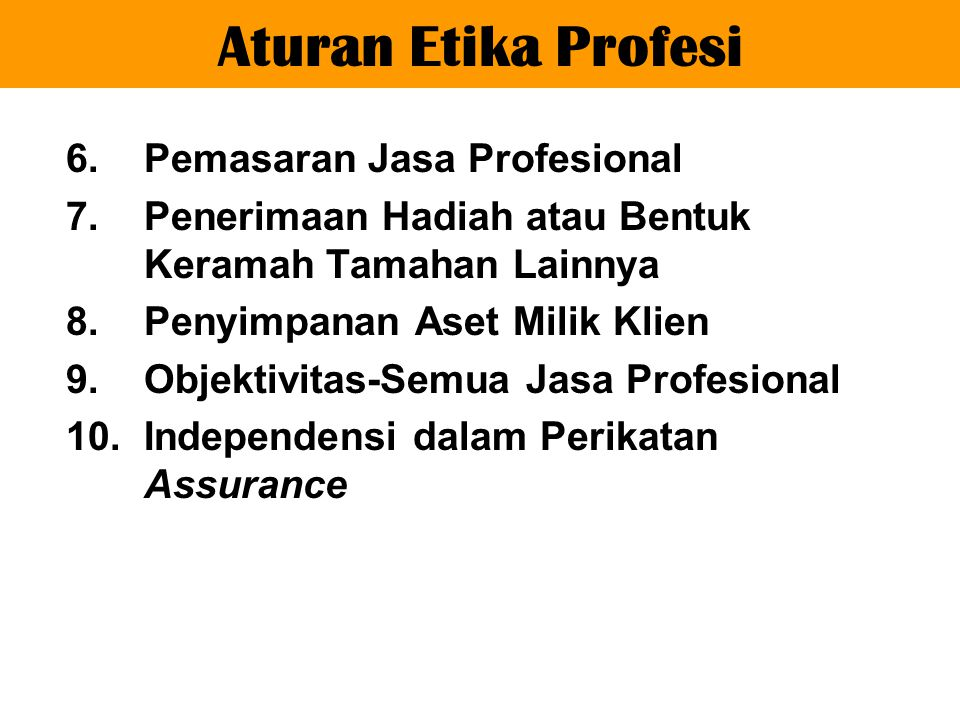 Aturan Etika Profesi Pemasaran Jasa Profesional