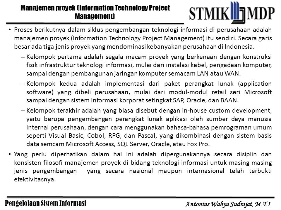Manajemen proyek (Information Technology Project Management)