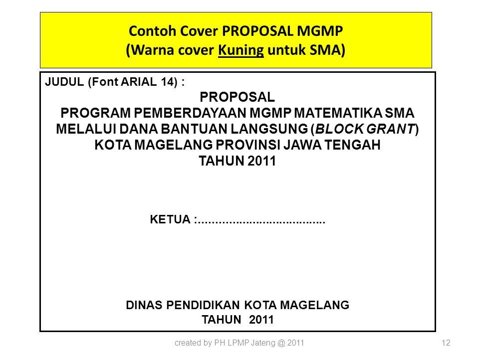 Contoh Cover PROPOSAL MGMP (Warna cover Kuning untuk SMA)