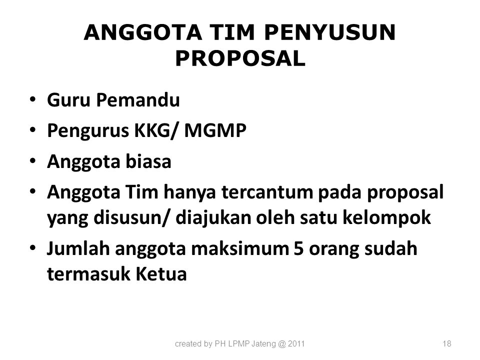 ANGGOTA TIM PENYUSUN PROPOSAL