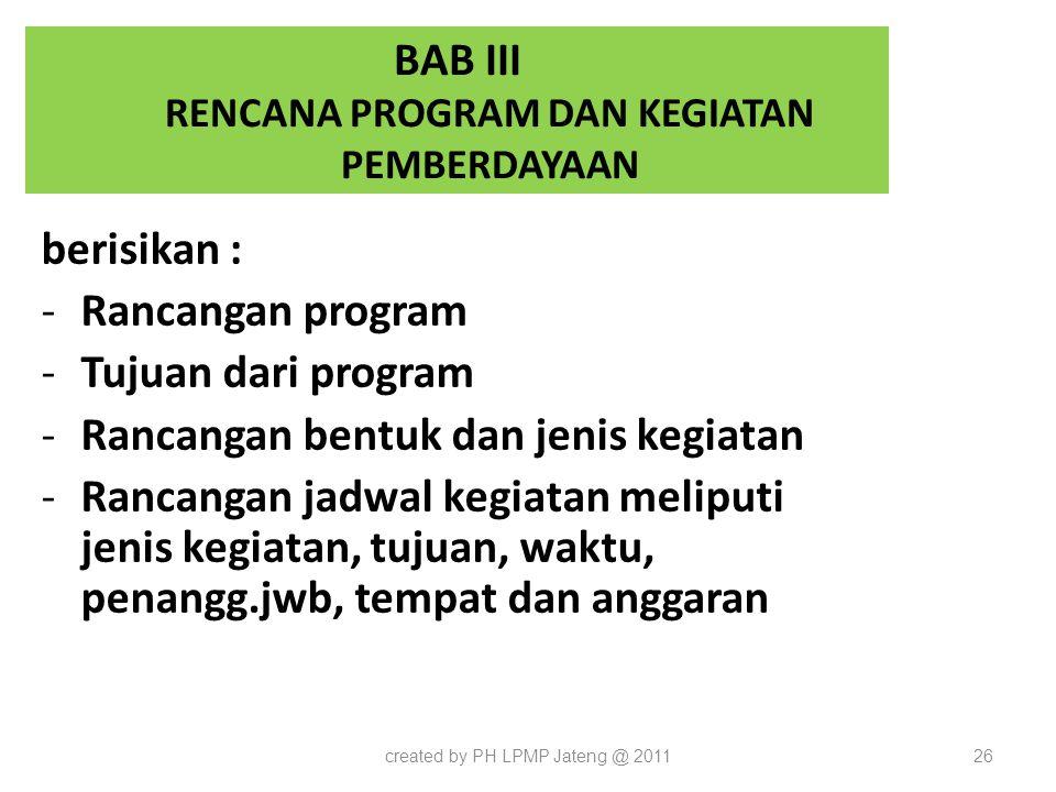 BAB III RENCANA PROGRAM DAN KEGIATAN PEMBERDAYAAN