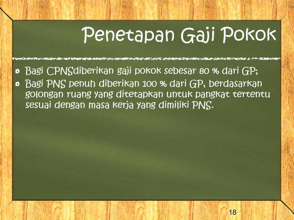 Penetapan Gaji Pokok Bagi CPNSdiberikan gaji pokok sebesar 80 % dari GP;