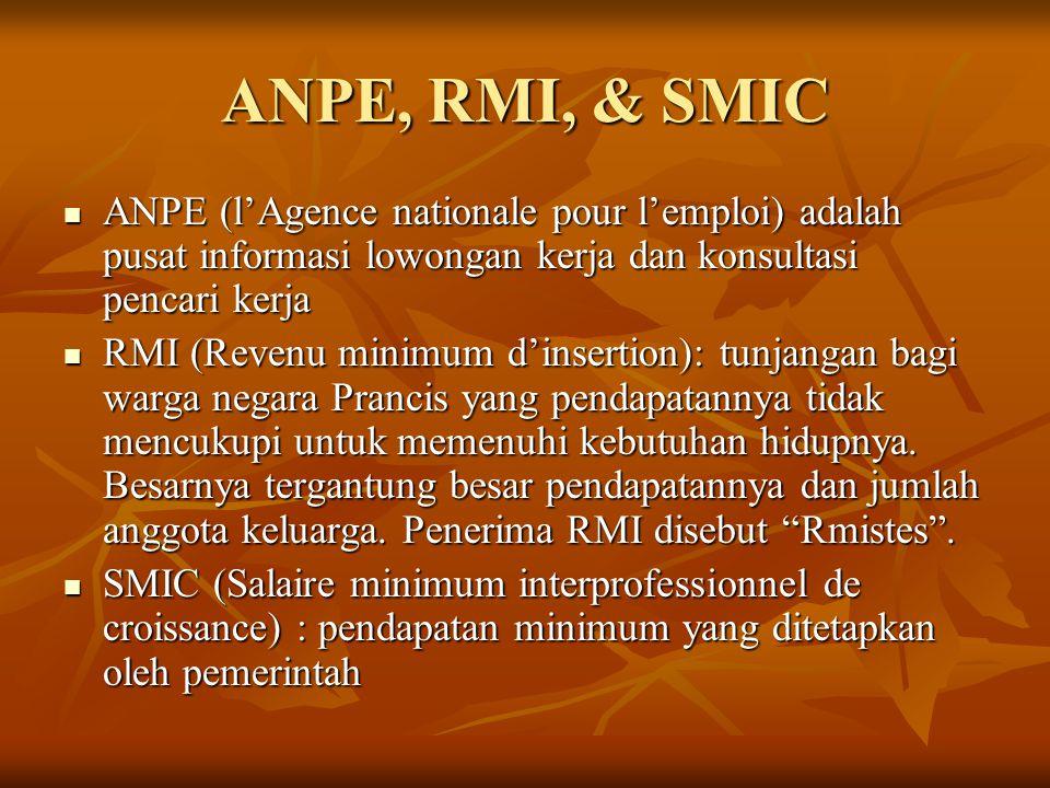 ANPE, RMI, & SMIC ANPE (l'Agence nationale pour l'emploi) adalah pusat informasi lowongan kerja dan konsultasi pencari kerja.