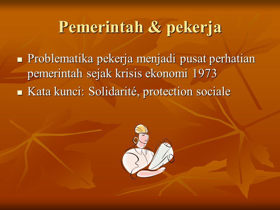 Pemerintah & pekerja Problematika pekerja menjadi pusat perhatian pemerintah sejak krisis ekonomi 1973.