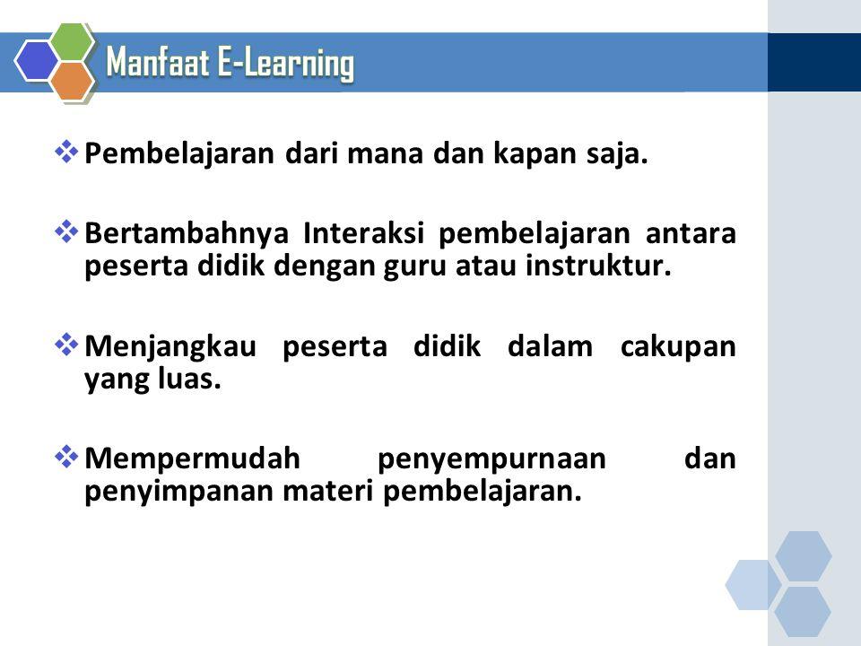 Manfaat E-Learning Pembelajaran dari mana dan kapan saja.
