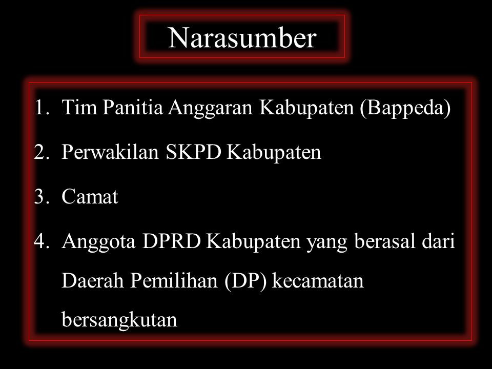 Narasumber Tim Panitia Anggaran Kabupaten (Bappeda)