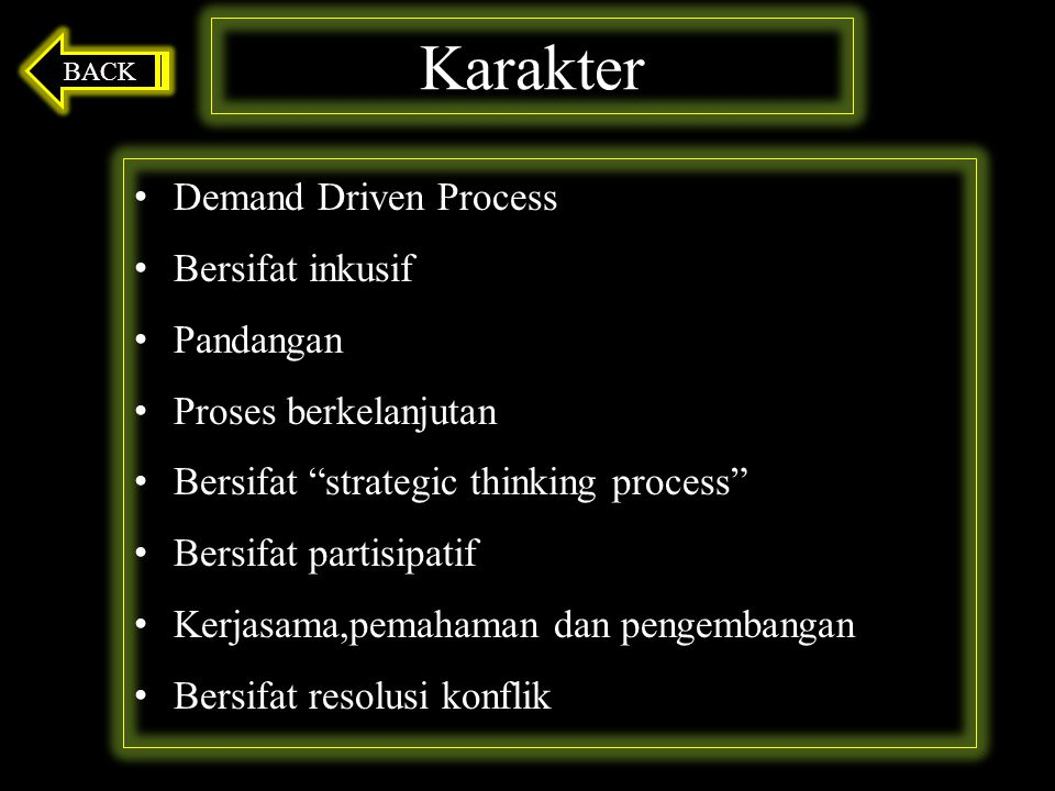 Karakter Demand Driven Process Bersifat inkusif Pandangan