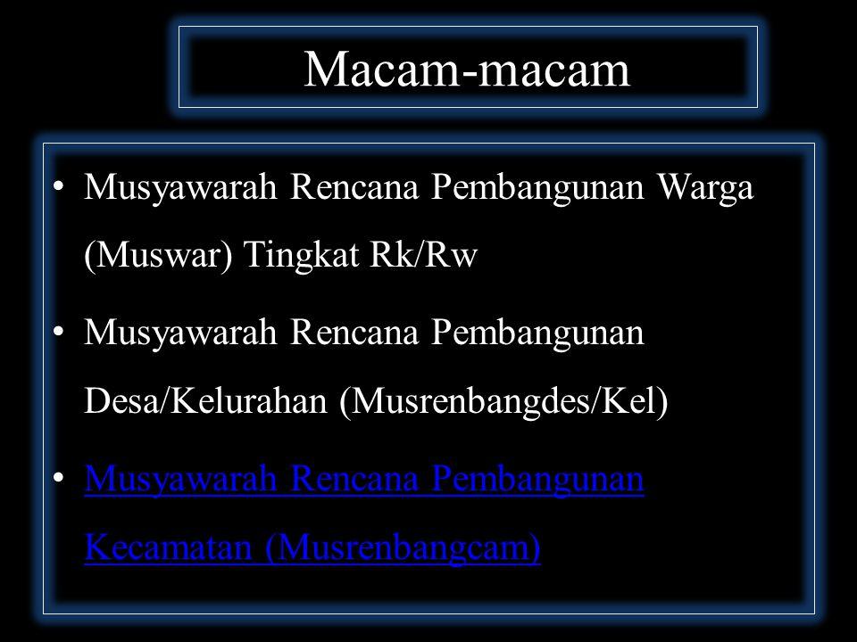 Macam-macam Musyawarah Rencana Pembangunan Warga (Muswar) Tingkat Rk/Rw. Musyawarah Rencana Pembangunan Desa/Kelurahan (Musrenbangdes/Kel)