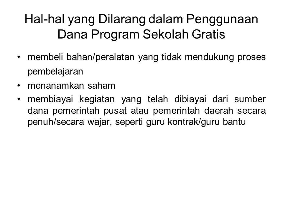 Hal-hal yang Dilarang dalam Penggunaan Dana Program Sekolah Gratis