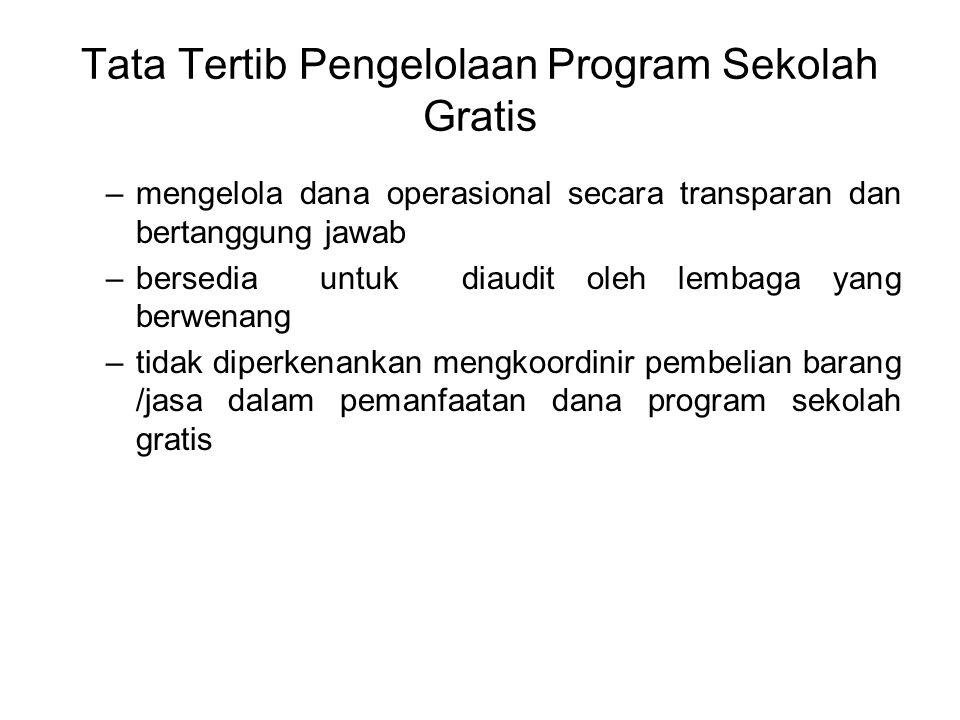Tata Tertib Pengelolaan Program Sekolah Gratis