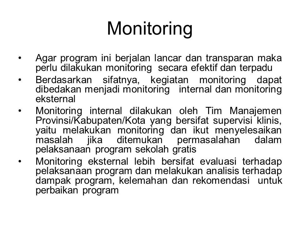 Monitoring Agar program ini berjalan lancar dan transparan maka perlu dilakukan monitoring secara efektif dan terpadu.