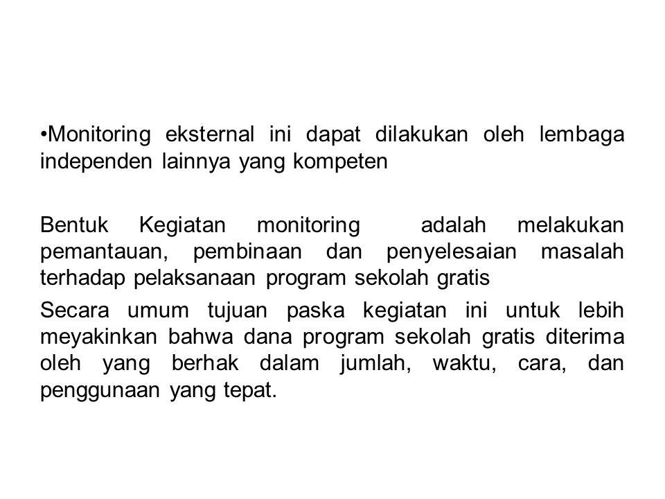 Monitoring eksternal ini dapat dilakukan oleh lembaga independen lainnya yang kompeten