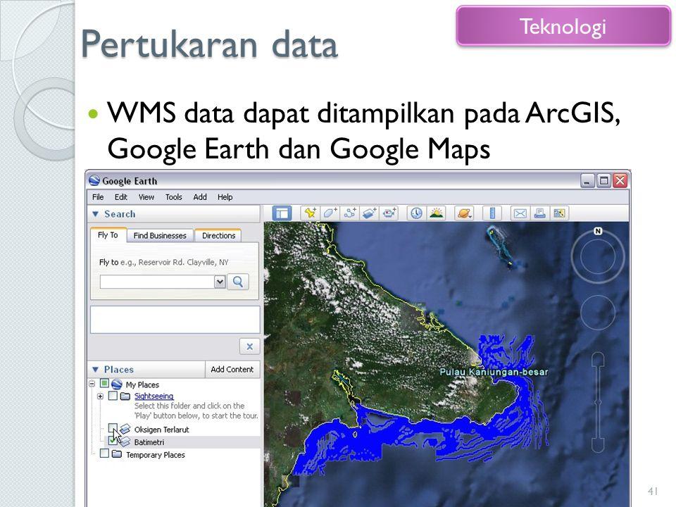 Pertukaran data Teknologi WMS data dapat ditampilkan pada ArcGIS, Google Earth dan Google Maps
