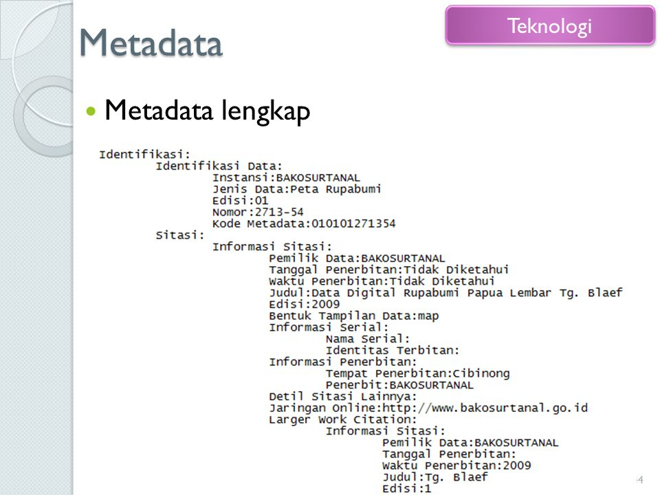 Metadata Teknologi Metadata lengkap