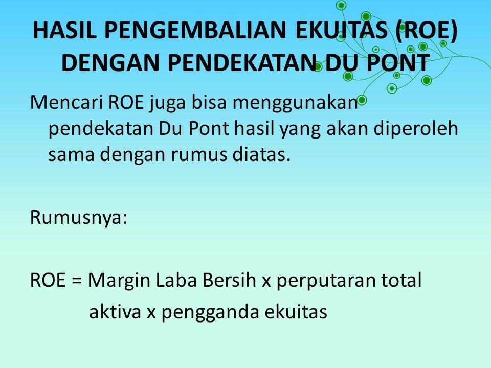 HASIL PENGEMBALIAN EKUITAS (ROE) DENGAN PENDEKATAN DU PONT