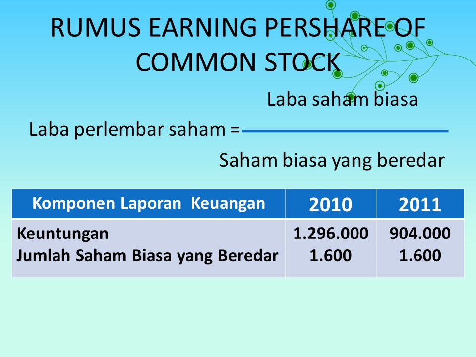 RUMUS EARNING PERSHARE OF COMMON STOCK